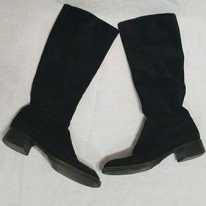 Prada Knee High Black Suede Boots - 38.5